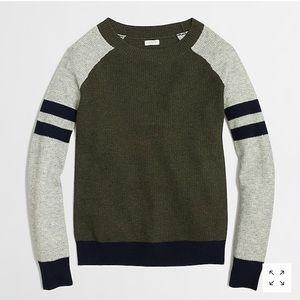 J. Crew Varsity-Stripe Colorblock Waffle Sweater